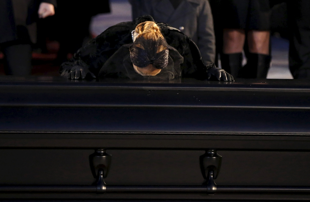 Celine Dion at funeral of husband Rene Angelil
