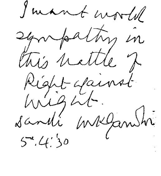 Gandhi's handwriting