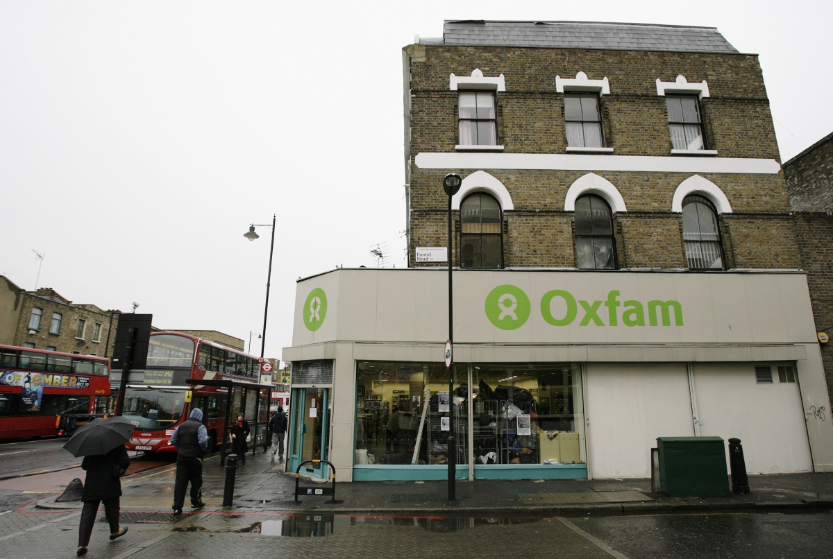 Oxfam charity sign