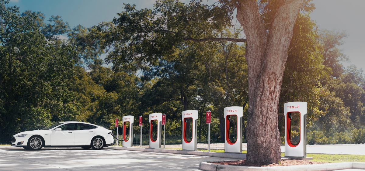 Tesla supercharger electric car charging stations