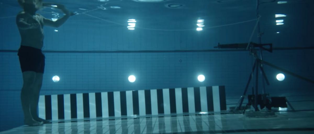 Shooting a gun underwater experiment