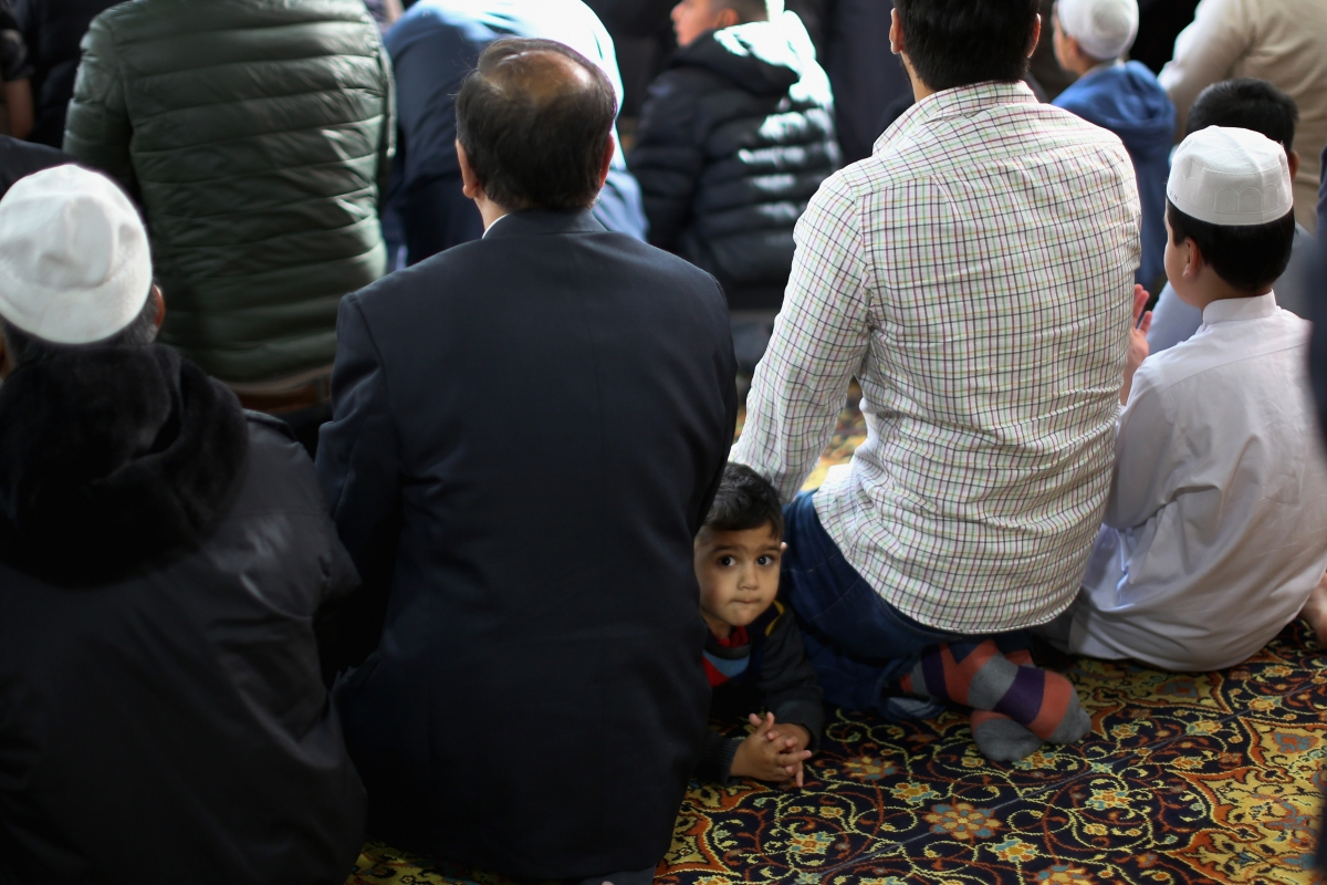 British Muslims pray in mosque