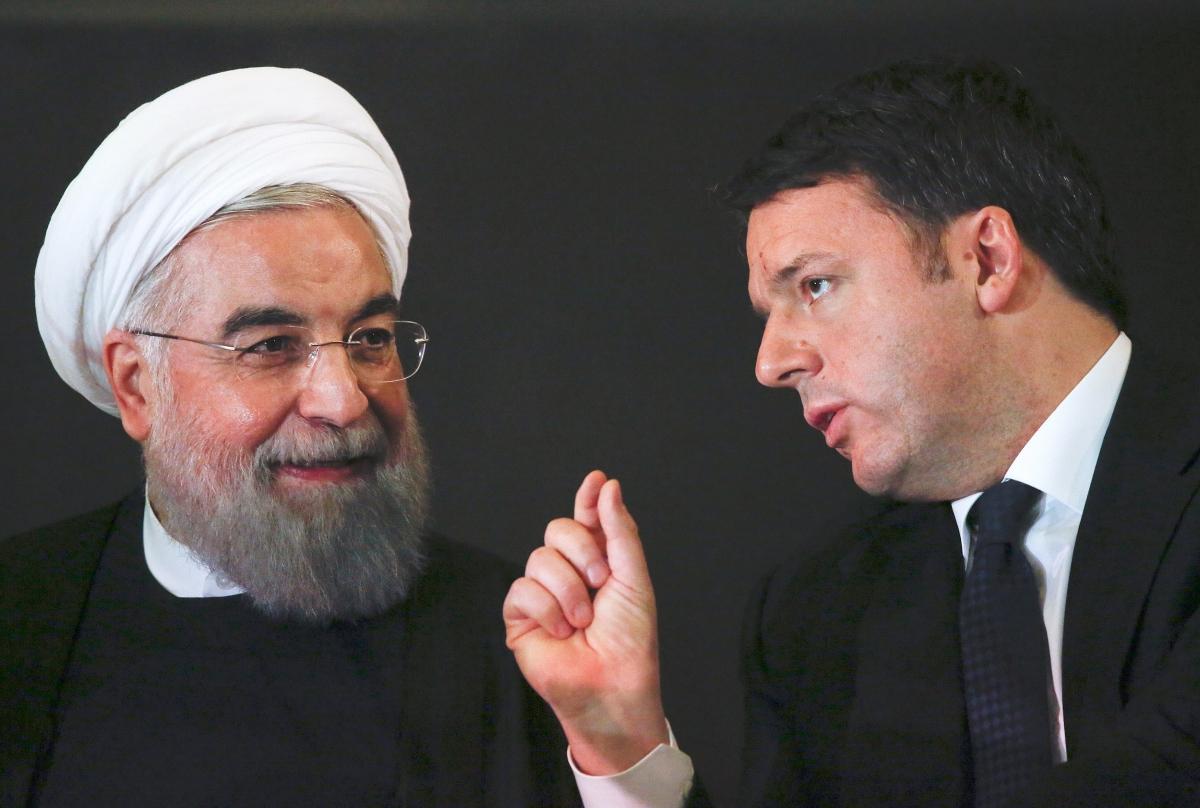 Matteo Renzi Rouhani Iran statues