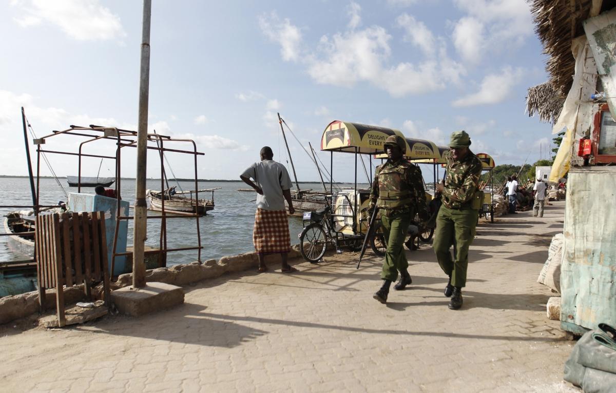 Kenya police officers patrol