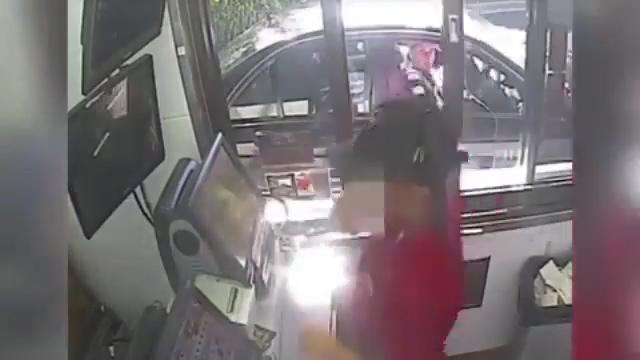 McDonald's customer caught spitting