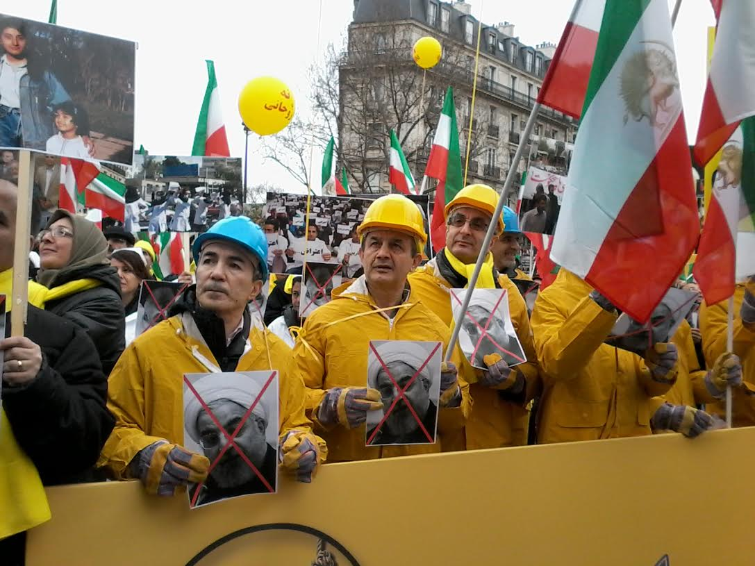 Pictures from a demonstration against Hassan Rouhani