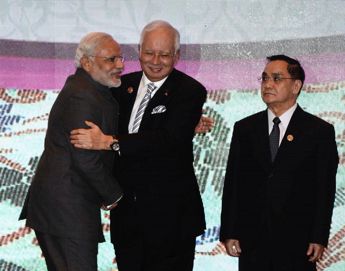 Narendra Modi, Najib Razak, Thongsing Thammavong