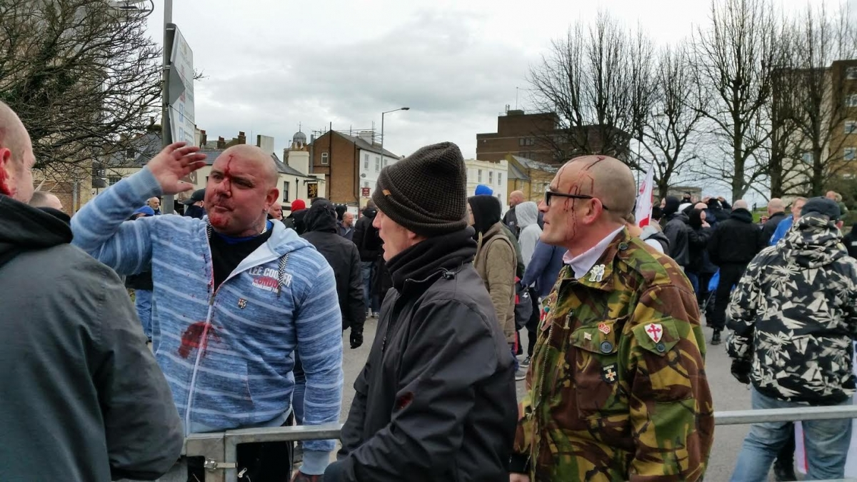 Bloodied protesters in Dover