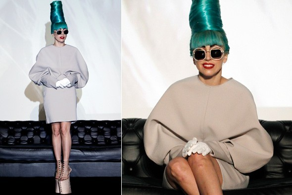 Rebecca Short's design which Lady Gaga wore at a Singapore press conference