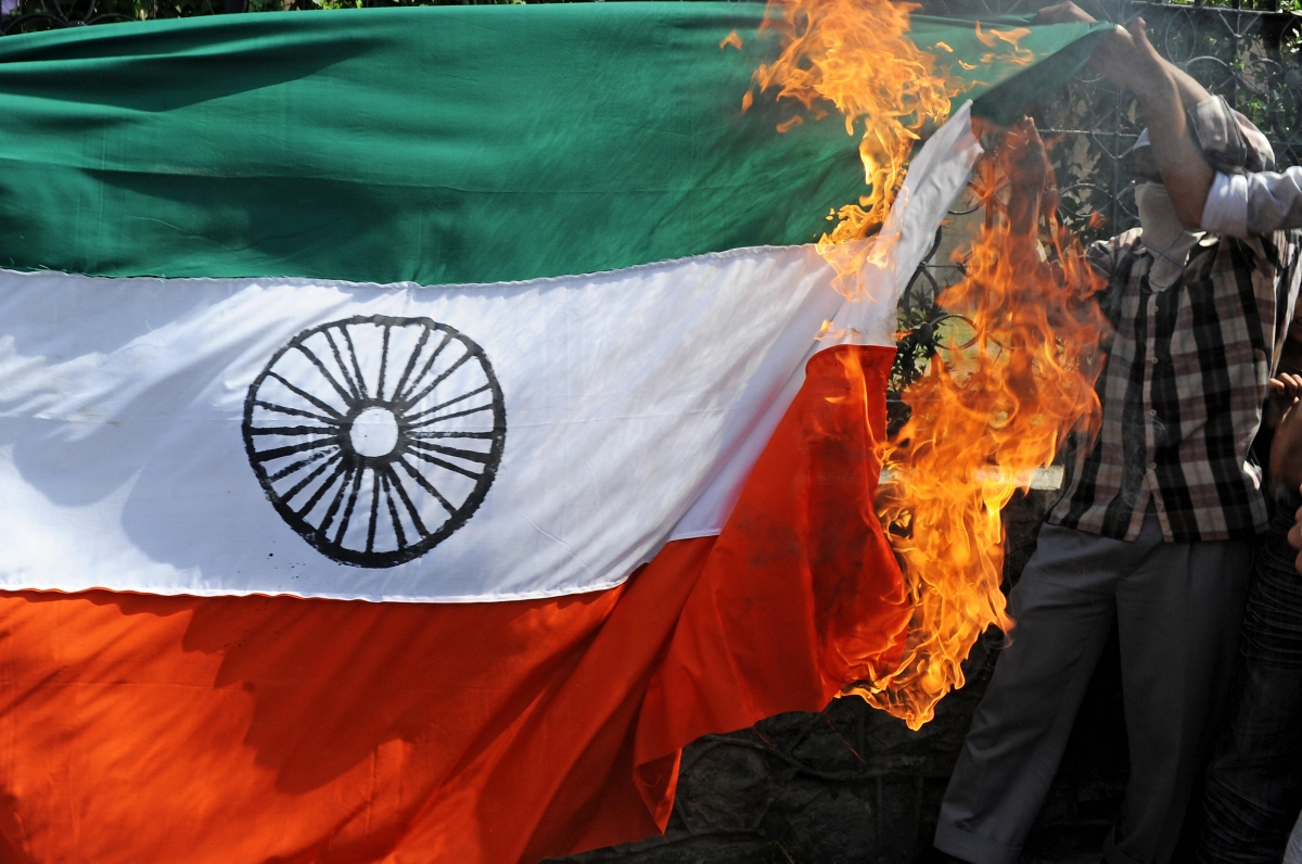 India flag burn