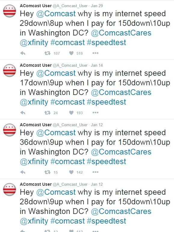 Comcast complaint tweets