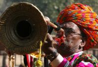 Man blowing horn