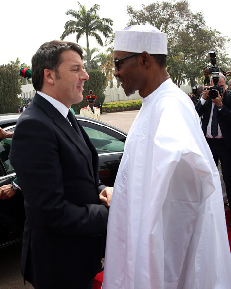 Mattero Renzi and Muhammadu Buhari in Abuja