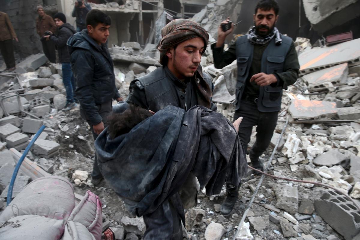 Regime bombing in Damascus