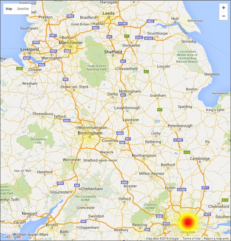 BT outage heat map