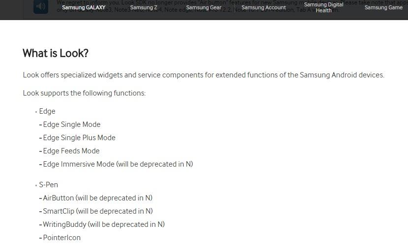 Samsung developer hints
