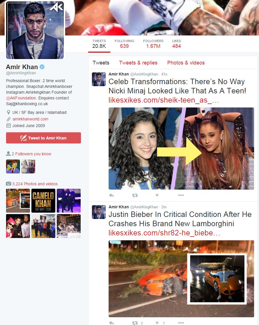 Amir Khan Twitter hack