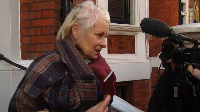 Vivienne Westwood outside Ecuadorian embassy