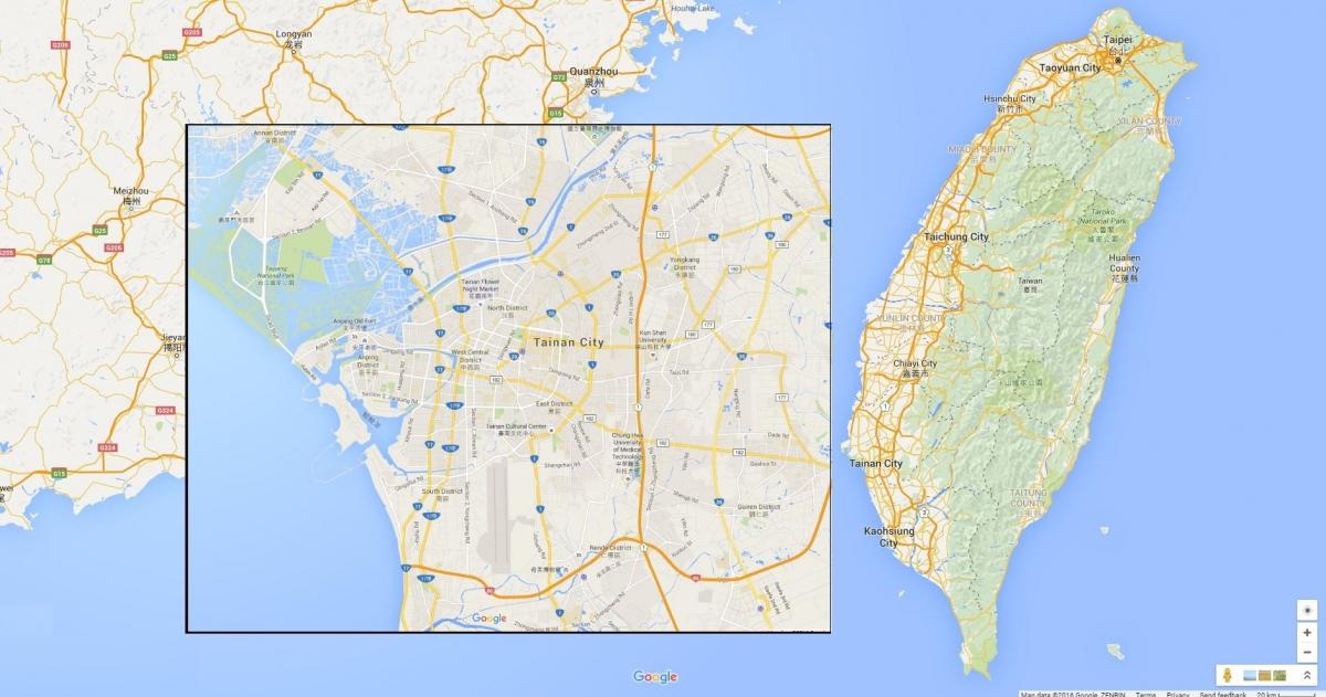 Taiwan and Tainan city map
