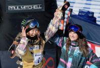 Chloe Kim celebrates her win