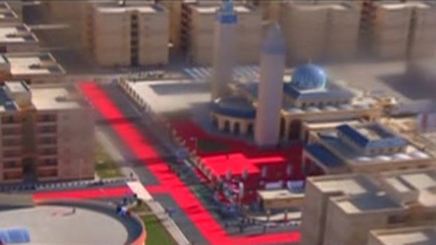 Television images of the red carpet laid