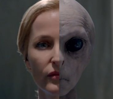 Dana Scully morphs into an alien