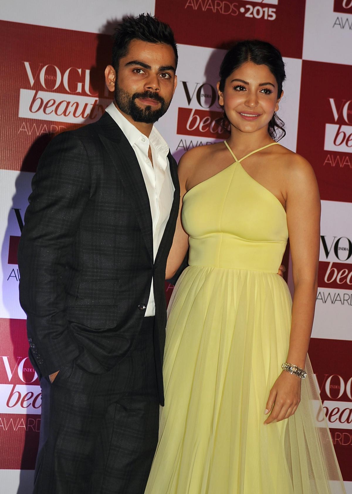 Indian Bollywood actress Anushka Sharma and Indian cricketer Virat Kohli