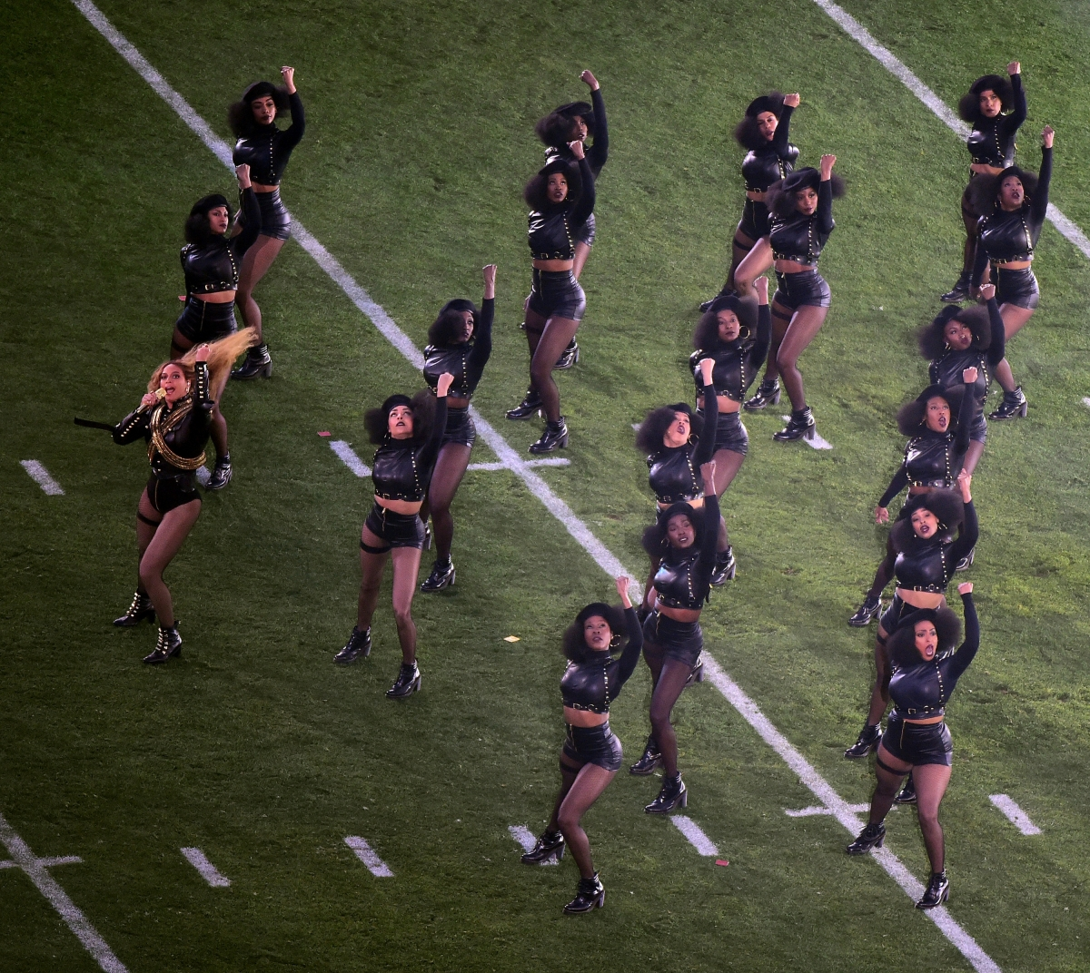 Beyonce performing at the Super Bowl