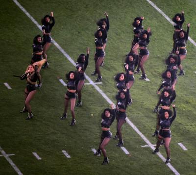 Beyonce performing at the Super Bowl