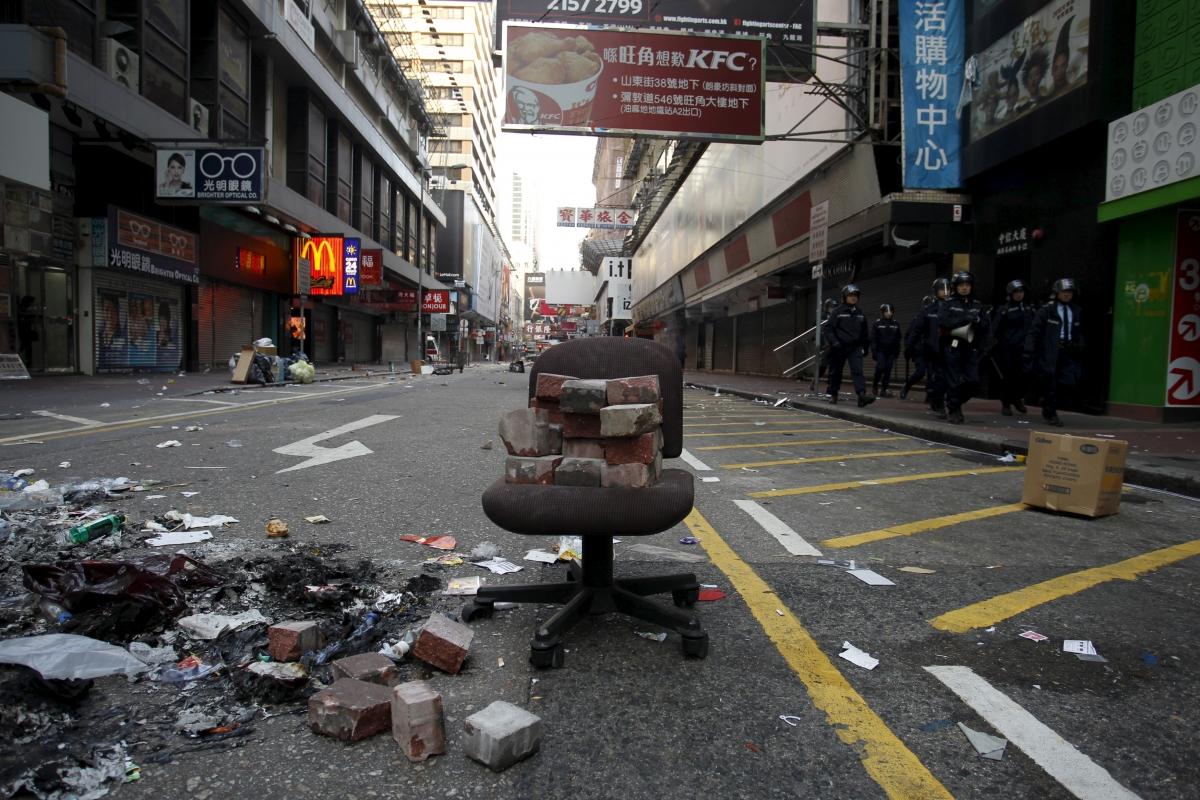 Hong Kong riots in Mong Kok district