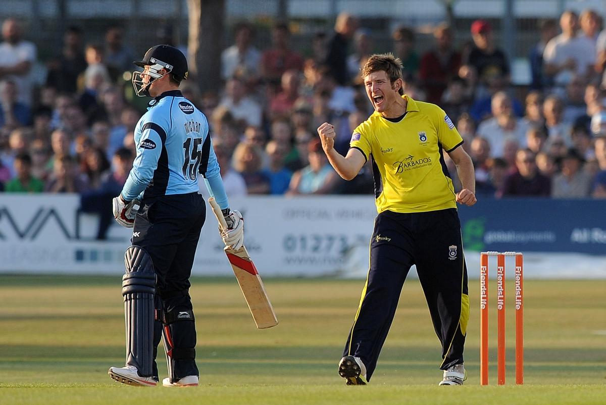 Liam Dawson celebrates for Hampshire
