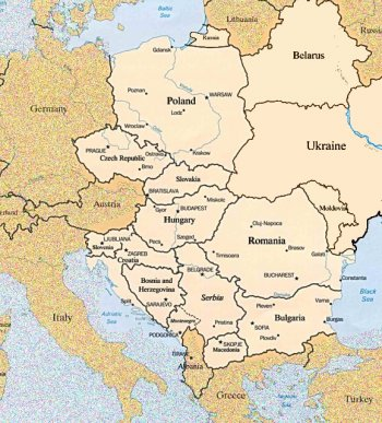 Map of Eastern Europe 2016