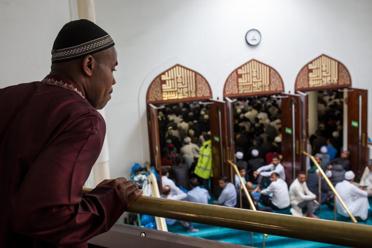 British Muslims pray in mosque