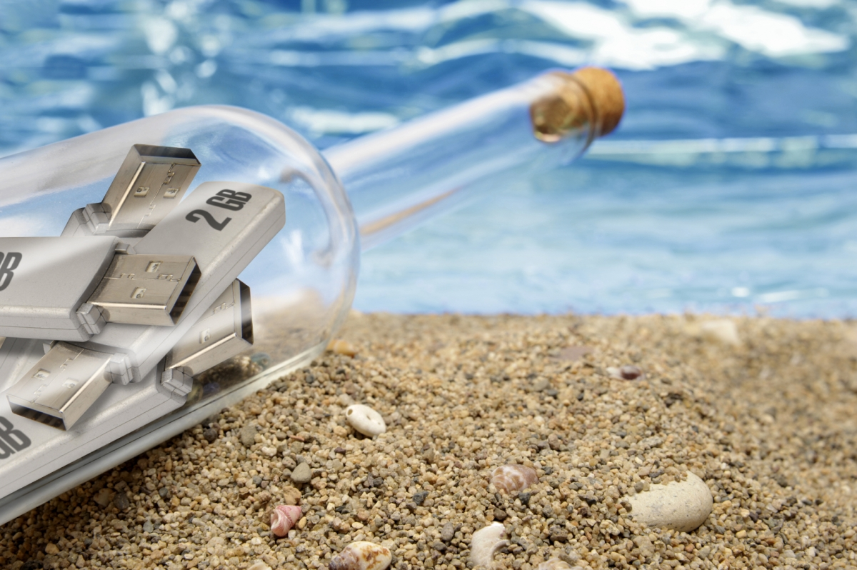 USB memory sticks in a bottle