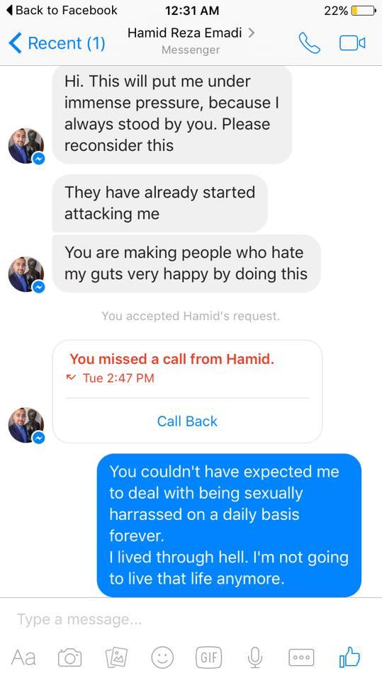 Hamid Rez Emadi, sexual harrassment,