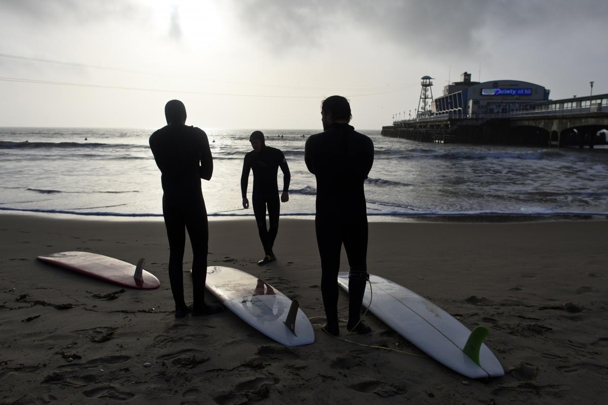 Bournemouth pier sufers