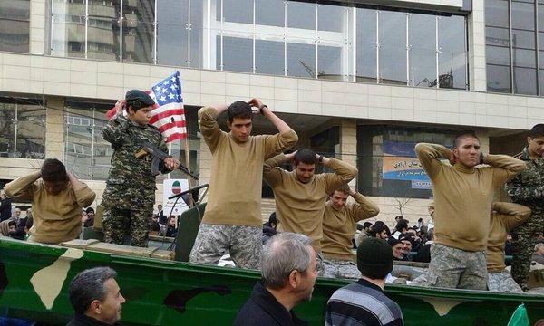 Iranians re-enact the arrest of US sailors