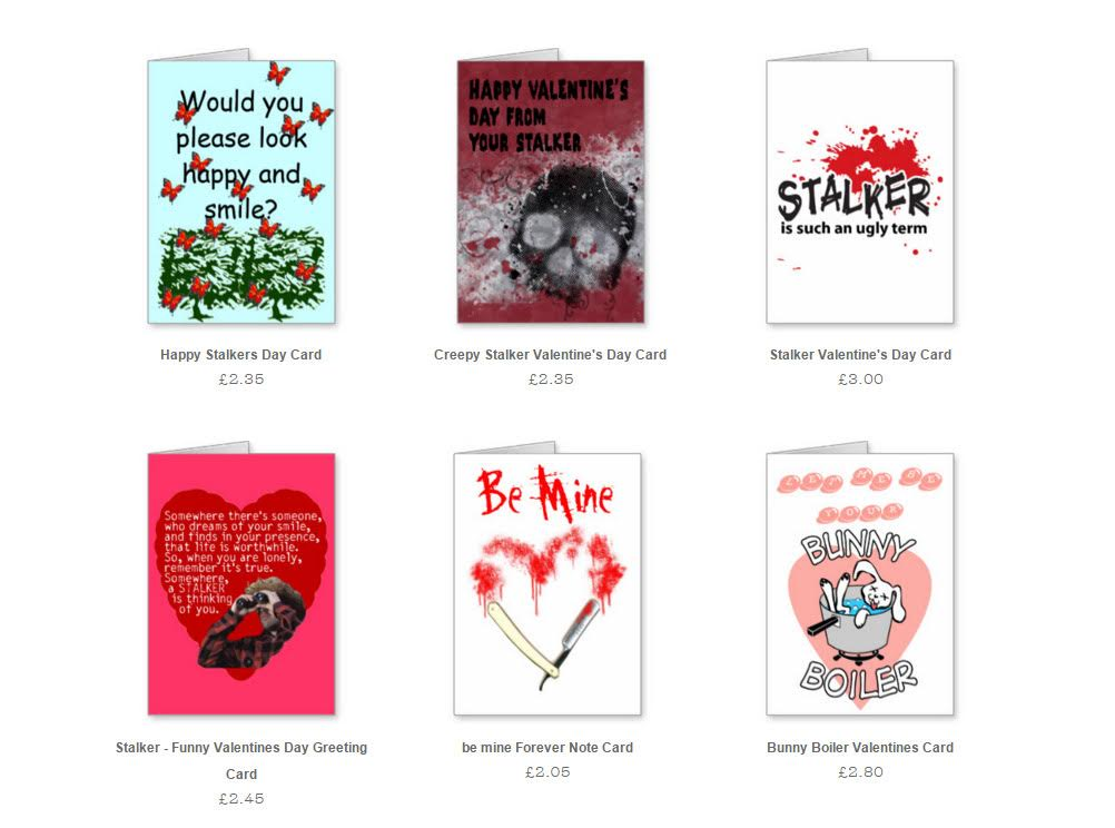 Stalking themed Valentine's Day cards