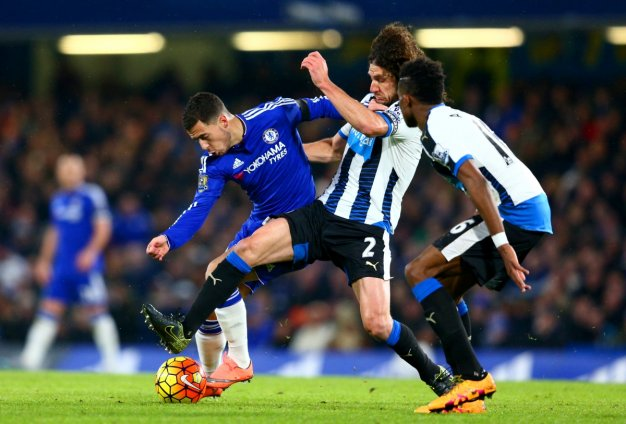 Eden Hazard escapes a tackle