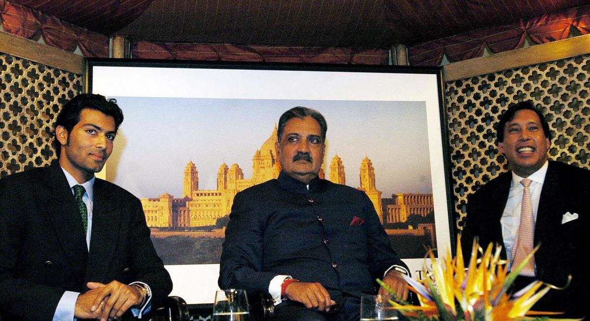 Maharaja Gajingh (C) sits alongside his son Shivraj Singh