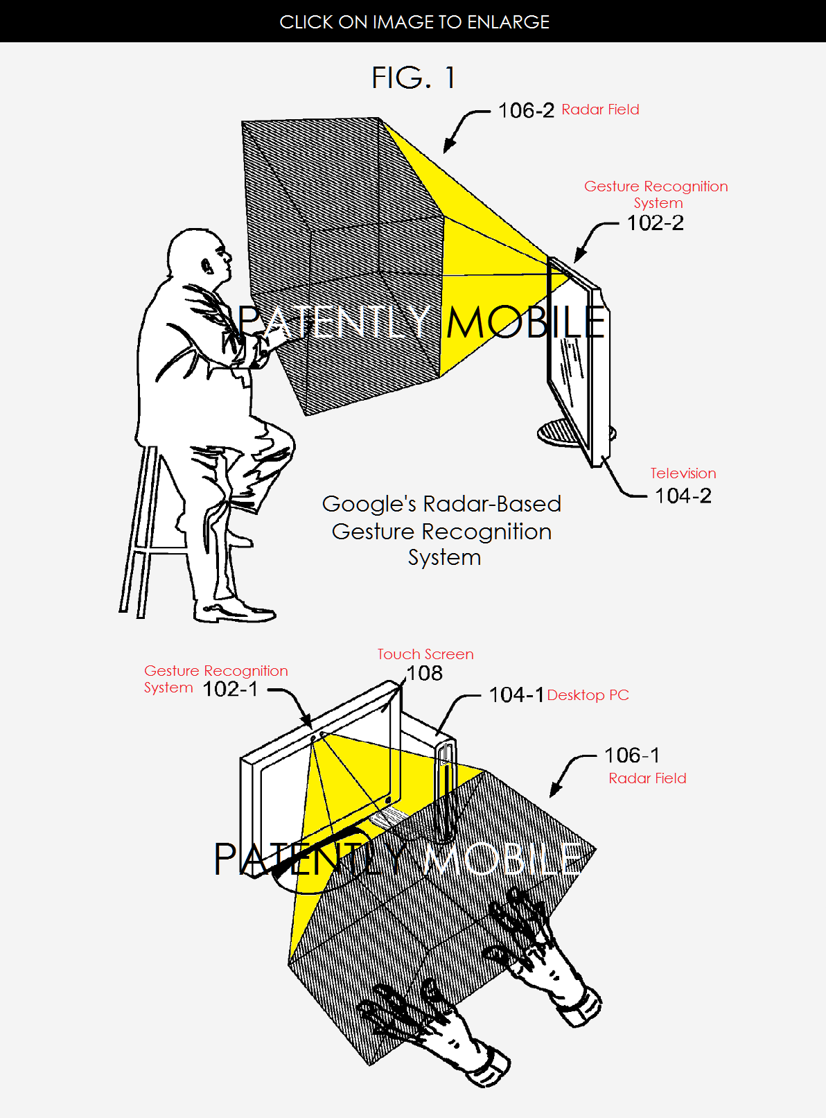 Patent drawing for gesturing system by Google
