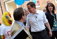 David Cameron and a chicken suit