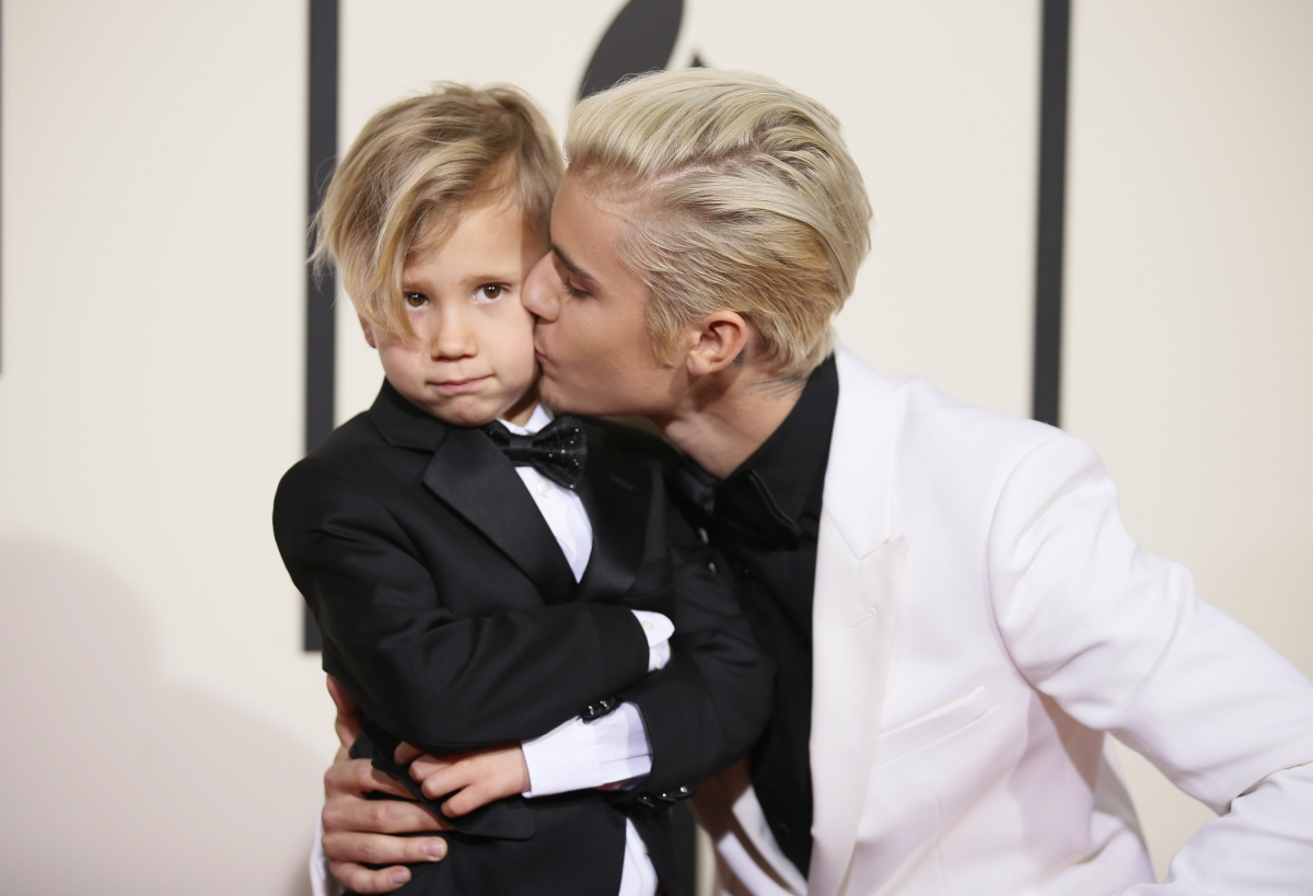 Justin Bieber with brother Jaxon
