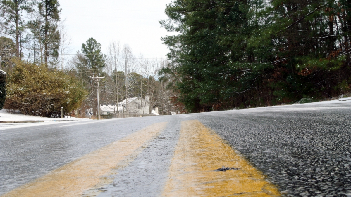 Frozen road with ice