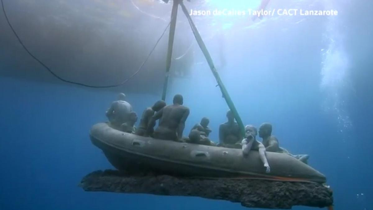 Underwater migrant sculptures \'drowned\' in Atlantic Ocean to show human cost of refugee crisis