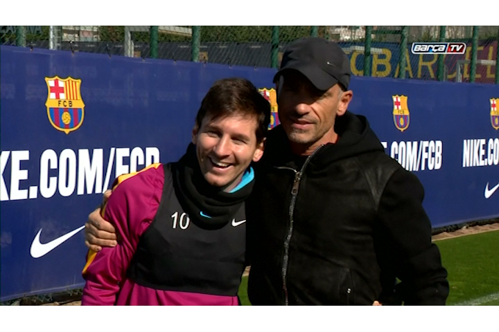 Lionel Messi and Eros Ramazzotti