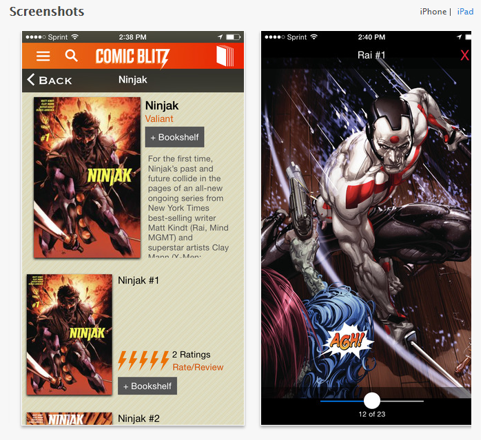 Comic Blitz iOS App