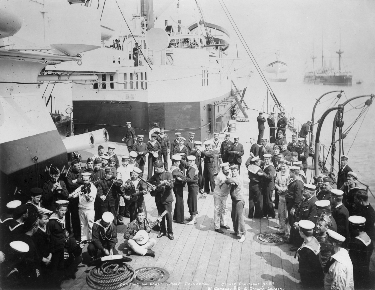 Sailors dancing at sea