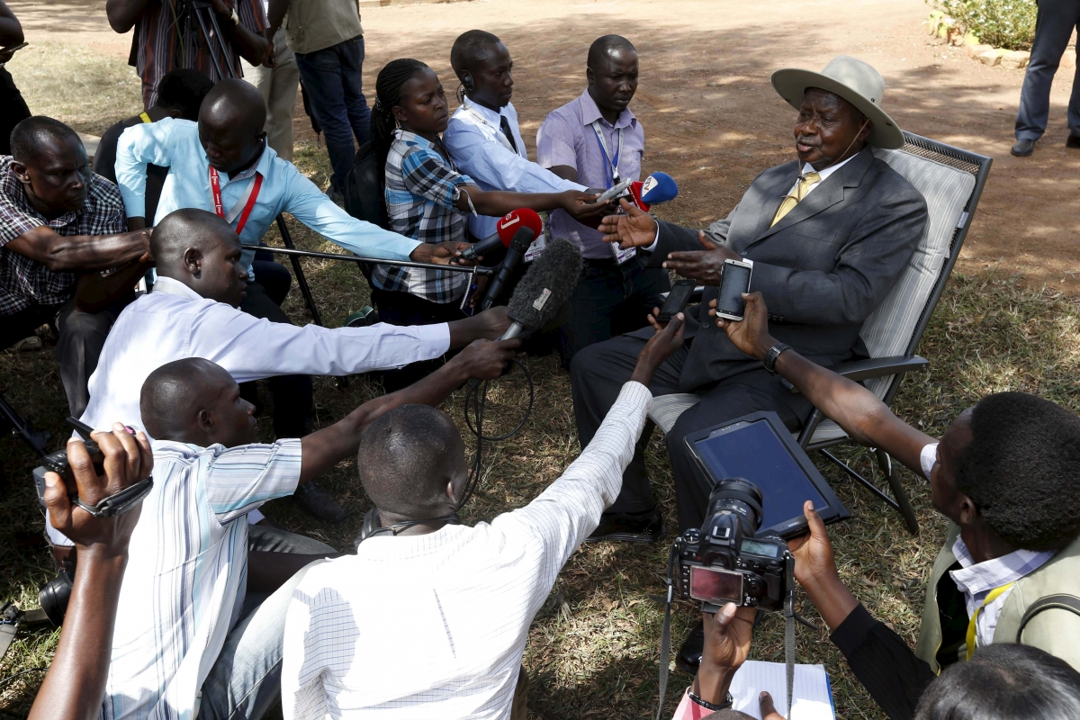 Uganda's Museveni speaks to press after voting