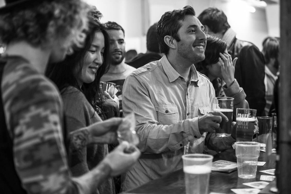 smiling happy pub people